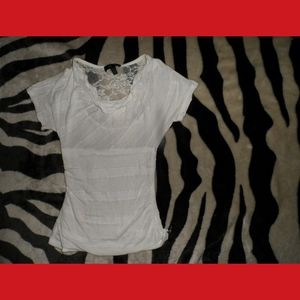 White T-Shirt Blouse Lace Back
